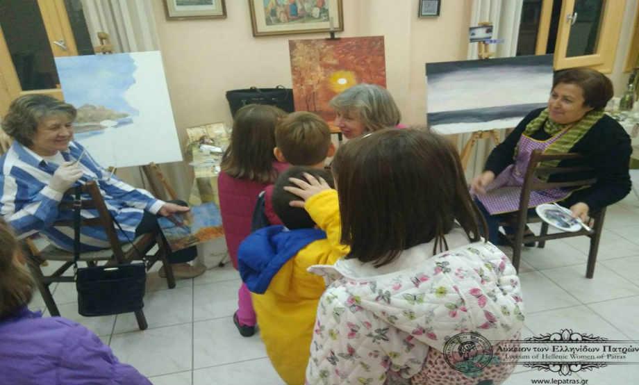 2018-02-22: Επίσκεψη Μικρών Μαθητών στο Μάθημα Ζωγραφικής Κυριών